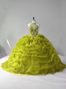 Charming Olive Green Lace Up Quinceanera Dress Beading and Pick Ups Sleeveless Court Train