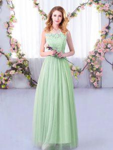 Apple Green Empire Lace and Belt Court Dresses for Sweet 16 Side Zipper Tulle Sleeveless Floor Length