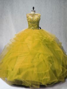 Custom Design Olive Green Ball Gowns Tulle Bateau Sleeveless Beading and Ruffles Lace Up 15 Quinceanera Dress Court Train