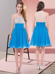 Mini Length Empire Sleeveless Baby Blue Dama Dress Side Zipper