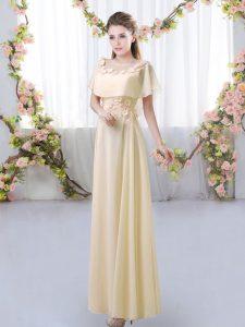Scoop Short Sleeves Quinceanera Court Dresses Floor Length Appliques Light Yellow Chiffon