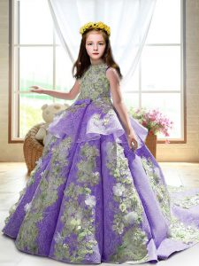Excellent Lavender Satin Backless Little Girl Pageant Dress Sleeveless Court Train Appliques
