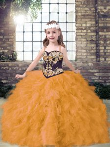 Charming Gold Little Girl Pageant Gowns Party and Wedding Party with Embroidery and Ruffles Straps Sleeveless Lace Up