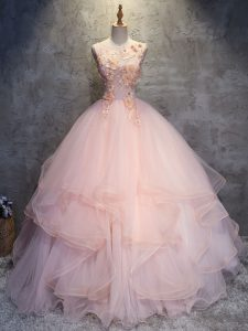 Customized Ball Gowns Ball Gown Prom Dress Pink Scoop Tulle Sleeveless Floor Length Lace Up