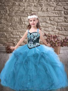 Baby Blue Little Girls Pageant Dress Wholesale Party and Wedding Party with Embroidery and Ruffles Straps Sleeveless Lace Up