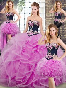 Custom Made Sweetheart Sleeveless Quinceanera Dresses Embroidery and Ruffles Sweep Train Lace Up