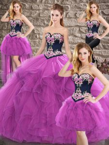 Modern Sleeveless Floor Length Beading and Embroidery Lace Up Quinceanera Dress with Purple