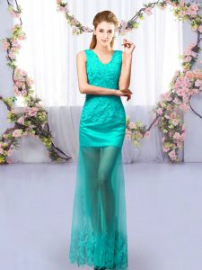 Flare Turquoise Sleeveless Floor Length Lace Lace Up Quinceanera Court of Honor Dress