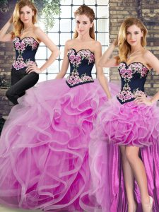 Popular Lilac Ball Gowns Tulle Sweetheart Sleeveless Embroidery and Ruffles Lace Up Quinceanera Gown Sweep Train