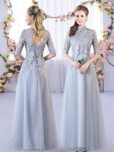 High-neck Half Sleeves Lace Up Vestidos de Damas Grey Tulle