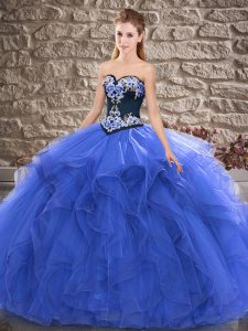 Flare Blue Ball Gowns Sweetheart Sleeveless Tulle Floor Length Lace Up Beading and Embroidery Sweet 16 Dress