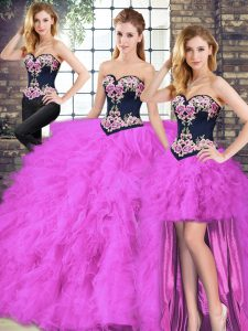 Pretty Fuchsia Lace Up Sweetheart Beading and Embroidery Quinceanera Gown Tulle Sleeveless