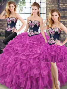 High End Floor Length Fuchsia 15th Birthday Dress Sweetheart Sleeveless Lace Up