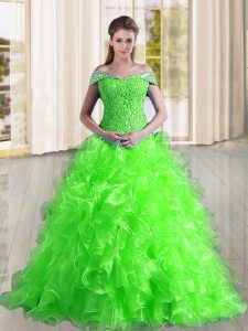 Comfortable Organza Sleeveless Sweet 16 Quinceanera Dress Sweep Train and Beading and Lace and Ruffles