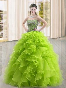 Most Popular Beading and Ruffles 15 Quinceanera Dress Yellow Green Lace Up Sleeveless Floor Length