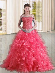 Most Popular Sleeveless Beading and Lace and Ruffles Lace Up Quinceanera Gowns with Coral Red Sweep Train