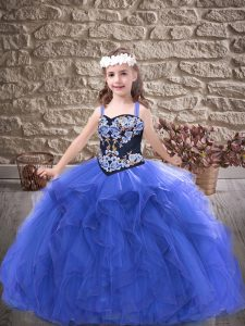 Discount Royal Blue Tulle Lace Up Pageant Gowns For Girls Sleeveless Floor Length Embroidery and Ruffles
