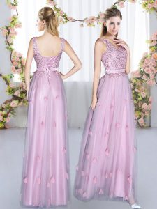 Lavender V-neck Lace Up Beading and Appliques Vestidos de Damas Sleeveless