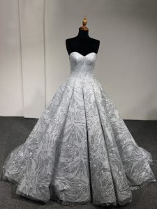 Romantic Silver Lace Up Sweet 16 Quinceanera Dress Sequins Sleeveless Floor Length