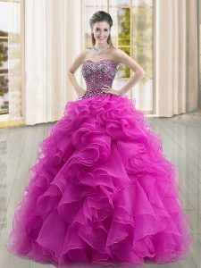 Ball Gowns 15 Quinceanera Dress Fuchsia Sweetheart Organza Sleeveless Floor Length Lace Up