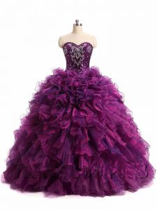 Elegant Sweetheart Sleeveless Organza Quinceanera Dress Beading and Ruffles Lace Up