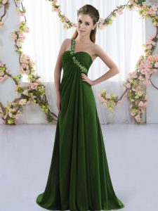 Olive Green Dama Dress for Quinceanera Chiffon Brush Train Sleeveless Beading