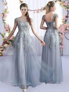 Designer Grey Cap Sleeves Lace Floor Length Dama Dress