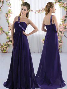 Shining Empire Sleeveless Purple Quinceanera Dama Dress Brush Train Lace Up
