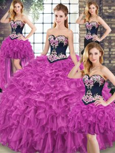 Sleeveless Embroidery and Ruffles Lace Up Quinceanera Gown with Fuchsia Sweep Train