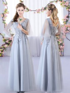 Sleeveless Tulle Floor Length Lace Up Damas Dress in Grey with Appliques