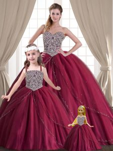Red Sleeveless Tulle Lace Up Quinceanera Dress for Military Ball and Sweet 16 and Quinceanera