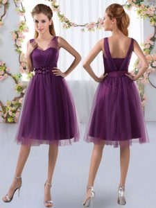 Lovely Sleeveless Tulle Knee Length Zipper Damas Dress in Purple with Appliques