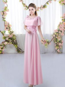Rose Pink Quinceanera Court of Honor Dress Prom and Party and Wedding Party with Appliques Scoop Short Sleeves Zipper