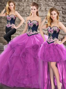 Pretty Sweetheart Sleeveless Lace Up Quinceanera Dress Purple Tulle