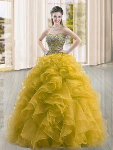 Glittering Floor Length Gold Quinceanera Dress Sweetheart Sleeveless Lace Up