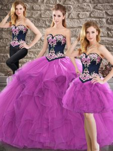 Deluxe Purple Sweetheart Lace Up Beading and Embroidery Sweet 16 Quinceanera Dress Sleeveless
