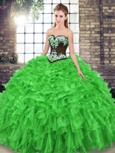 Fantastic Sweetheart Lace Up Embroidery and Ruffles Vestidos de Quinceanera Sweep Train Sleeveless