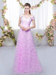 Dramatic Lilac Empire Appliques Dama Dress Lace Up Tulle Cap Sleeves Floor Length