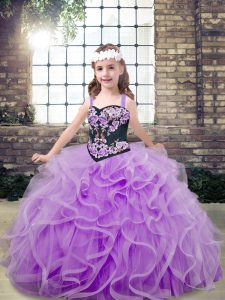 Lavender Pageant Dress Womens Party and Wedding Party with Embroidery and Ruffles Straps Sleeveless Lace Up