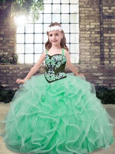 Sleeveless Tulle Floor Length Lace Up Little Girls Pageant Dress in Apple Green with Embroidery and Ruffles
