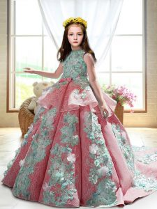Cheap Watermelon Red Girls Pageant Dresses Wedding Party with Appliques High-neck Sleeveless Court Train Backless