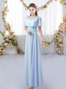 Chiffon Short Sleeves Floor Length Quinceanera Dama Dress and Appliques