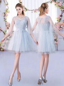 Inexpensive 3 4 Length Sleeve Tulle Mini Length Lace Up Damas Dress in Grey with Lace