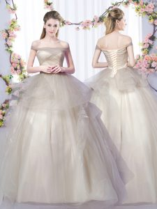 Flare Sleeveless Floor Length Ruffles Lace Up 15 Quinceanera Dress with Grey