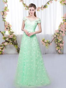 Apple Green Dama Dress Prom and Wedding Party with Appliques Off The Shoulder Cap Sleeves Lace Up