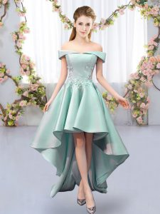 Off The Shoulder Sleeveless Quinceanera Court of Honor Dress High Low Appliques Apple Green Satin