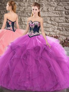 Artistic Sweetheart Sleeveless Lace Up Quinceanera Gown Purple Tulle