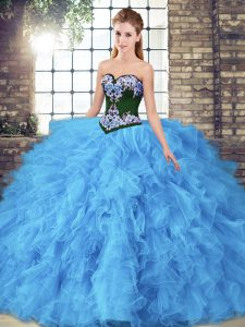 Sweetheart Sleeveless Lace Up Quinceanera Gown Baby Blue Tulle
