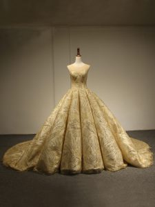 Gorgeous Scoop Sleeveless Brush Train Lace Up Sequins Quinceanera Dresses in Gold