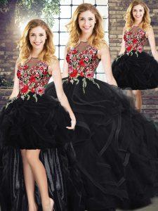 Sleeveless Zipper Floor Length Embroidery and Ruffles Quinceanera Dress